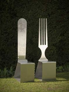 Stainless Steel #sculpture by #sculptor Euan Cunningham titled: 'Knife and Fork (stainless Steel Useful Seat sculpture statue)'. #EuanCunningham