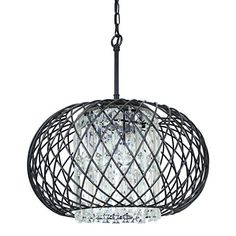 This gorgeous spherical chandelier makes a stunning addition to your home. Shimmery rectangular crystal fringe are surrounded by a black iron basket shade that Cage Light, Ceiling Height, Living Room Lighting, Modern Chandelier, Drum Shade, Ceiling Fixtures, Candelabra, Drums, Shades