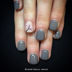Grey gel overlay with cherry blossom nailart