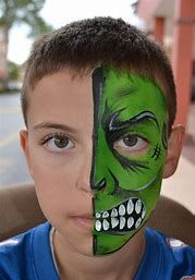 When you think about face painting designs, you probably think about simple kids face painting designs. Many people do not realize that face painting designs go Hulk Face Painting, Monster Face Painting, Face Painting For Boys, Face Painting Designs, Face Paintings, Kids Makeup, Simple Face, Boy Face, Face Art