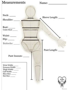 Sewing Measurements - Template (Downloadable) and Instructions for taking measurements