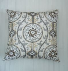Brown Pillow Covers.  Gray Pillows. One 22 X 22 inch.  Accent Throw Pillow. Decorative Pillows .Accent Pillow Modern geometric