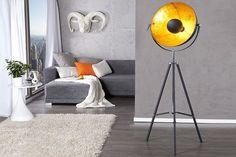 Stehlampe 'VINTAGE', Retro, Blattgold, Schwarz, Edelstahl, Aluminium, H:140cm