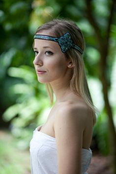 30% off Beaded Headband Embellished Stretch by ZibbysAccessories