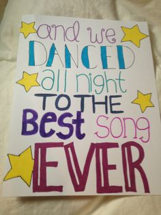 Best Song Ever: One Direction Lyric art on Etsy, $4.49