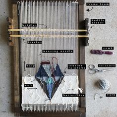 Loom: Anatomy  Heddles allow multiple warp strings to be lifted at once. Leashes attach warp strings to heddles. Heddle Stands: Hold the heddles in place when lifted. Frame Loom, Weaving Needle, Warp:vertical Strings attached to loom. Weft:horizontal Strings, Tension Rainbows: Method creating 'rainbow' shapes while running the weft strings across, maintains even tension. Butterflies: knots on a length of string so as to maintain it in place Comb: a tool to beat down the tension rainbows.