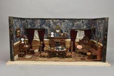 h3k70- Gründerzeit Puppenstube mit Einrichtung/ Möbel & Zubehör, um 1880 in Antiquitäten & Kunst, Antikspielzeug, Puppen & Zubehör   eBay!