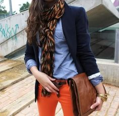 Orange pants, looped belt, blue button up, navy blazer, scarf, bag. I love this whole outfit
