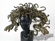 Better keep your eyes closed. Medusa cometh!  #headdress  #headpiece #medusa #snakes #serpent #halloween #halloweencostume #greekmythology #missgdesigns #horns