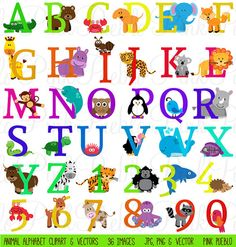 Our Animal Alphabet includes 36 PNG files with transparent backgrounds, 36 JPG files with white backgrounds and 1 Adobe Illustrator vector file. All