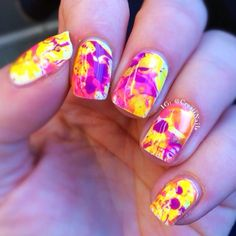 purple + yellow swirly nails