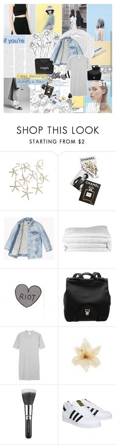 """""""AMATERASU"""" by bosspresident ❤ liked on Polyvore featuring Monki, Assouline Publishing, Chanel, Frette, Proenza Schouler, Clips, MAC Cosmetics, adidas, denim and dress"""