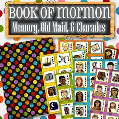 With multiple game options from this one set, it creates a perfect activity for Sundays, during General Conference, or FHE to teach children characters and items from the Book of Mormon. Simply print, cut and play! 1) Memory 2) Old Maid 3) Charades 4) Scavenger Hunt 5) Taboo 6) Guess Who 7) Tic Tac Toe. Purchase includes 72 character/item cards and a decorative page for the backs.