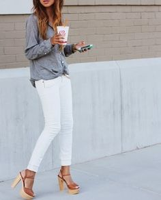 Spring Fashion Inspiration - I think I would like a pair of white skinny jeans...