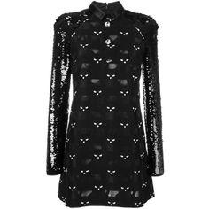 Giamba cat patched mini dress ($1,052) ❤ liked on Polyvore featuring dresses, black, cat dress, mini dress, cat print dress, giamba and short dresses