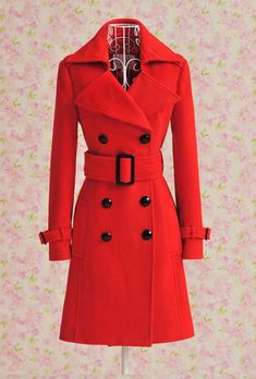 Red Jacket Wool Jacket Fashion Double Breasted