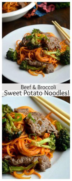 Paleo Beef and Broccoli Sweet Potato Noodles #paleo #grainfree #glutenfree