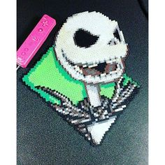 Jack Skellington perler beads by nostalgia_design.nunn