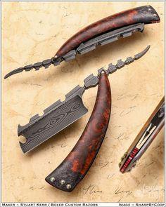 Cool Knives, Knives And Swords, Unique Knives, Custom Straight Razors, Knife Shapes, Blacksmithing Knives, Armas Ninja, Diy Knife, Weapon Concept Art