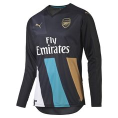 a51edd19d18e Puma Arsenal Third  15- 16 Long Sleeve Replica Soccer Jersey  (Anthracite Capri Breeze Victory Gold White)