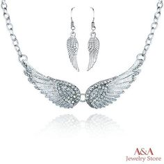 Quality Brightly Trendy Angel Wings Choker Necklace Luxury Rhinestones Pendants Necklaces for Women Collar Fashion Jewelry Drop Shipping with free worldwide shipping on AliExpress Mobile Long Pendant Necklace, Crystal Necklace, Necklace Set, Choker Necklaces, Angel Wings Jewelry, Angel Wing Necklace, Feather Jewelry, Feather Earrings, Silver Jewellery