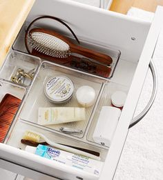 #Storage #Tip: Use interlocking trays to separate toothbrushes, toothpaste, floss, moisturizers, hairbrushes, and combs.      Drawer organizers, InterDesign, from $2.50, organizedliving.com