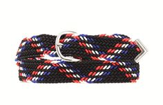Black, Red, Royal Blue, and White Braided Belt - Up To Size 48