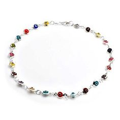 Bling Jewelry Multi Color Anklet Sterling Silver Evil Eye Ankle Bracelet 10in * Be sure to check out this awesome product.