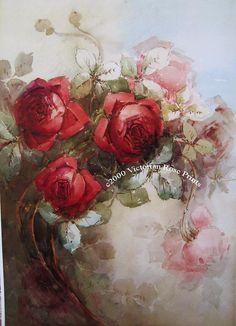 French Spring Roses Art Print Half Yard by VictorianRosePrints