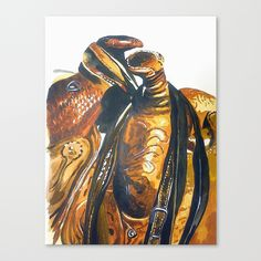 Two Saddles Stretched Canvas Prints western home decor