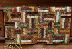 Quilt Autumn Batiks Lap Throw Patchwork Fall by PiecesOfPine