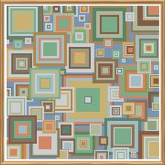 Geometric 5 - Retro Frames - Counted Cross Stitch by HornswoggleStore, $5.00 (modern, rainbow, abstract)