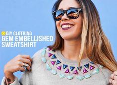 DIY Clothes Refashion: DIY   Gem Embellished Sweat shirt
