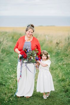 Bride wears a Cardigan and Trousers for her Clifftop Wedding in Scotland. Photography by Dominique Bader