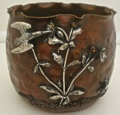 RARE GORHAM JAPANESE MIXED METALS COPPER STERLING POT FORM VASE BIRD FROG 1881 #Gorham Copper Utensils, Copper Pots, Kitchen Hardware, Arts And Crafts Movement, Mixed Metals, Vases, Objects, Carving, Bronze