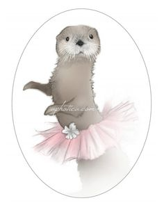 otter in tutu original art print 8x10 by aphotica on Etsy, $15.00