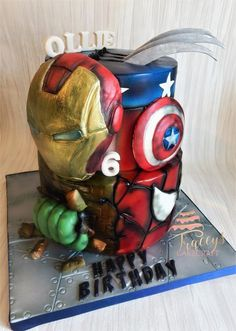 happy first birthday Avengers Birthday Cakes, Superhero Birthday Cake, Marvel Cake, Avenger Cake, Happy First Birthday, Unique Cakes, Cakes For Boys, Fancy Cakes, Cake Creations