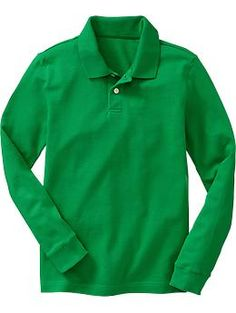 Boys Uniform Long-Sleeved Pique Polos | Old Navy