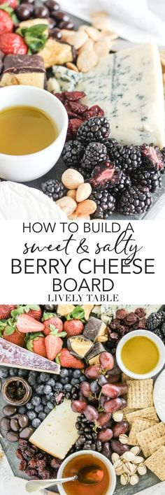 Create the ultimate snacking experience for entertaining with this sweet and salty berry cheese board. Complete with instructions on how to build a fruit and cheese board, this shows you everything you need for a gorgeous snack for entertaining guests! (sponsored) #cheeseboard #charcuterie #fruitandcheese #berries #cheese #seasonal #entertaining #snacking #hosting
