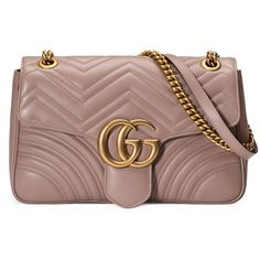 Gucci Gg Marmont Matelassé Shoulder Bag (254230 RSD) ❤ liked on Polyvore featuring bags, handbags, shoulder bags, nude, chain shoulder bag, leather handbags, gucci purses, brown handbags and brown leather handbags