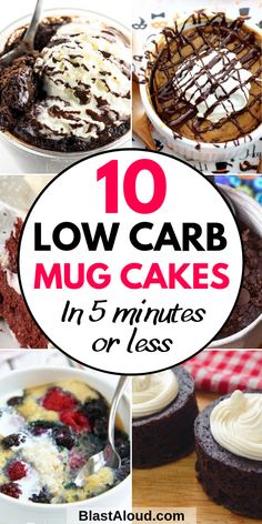 10 Quick and easy keto mug cakes you can make in 5 minutes or less! Simply mix the ingredients in a mug and pop it in the microwave and you have a delicious low carb keto mug cake ready to eat! Low Carb Mug Cakes, Keto Mug Cake, Keto Friendly Desserts, Low Carb Desserts, Keto Recipes, Cake Recipes, Dessert Recipes, Keto Fudge, Keto Lunch Ideas