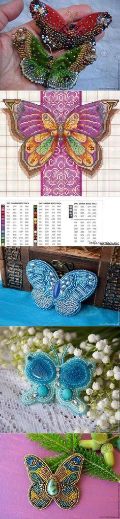 Schémas pour les papillons de broderie de perles.