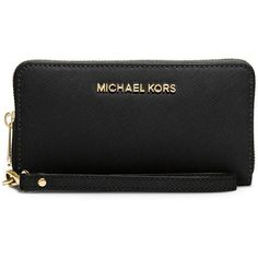 MICHAEL MICHAEL KORS Saffiano Leather Wristlet (340 BRL) ❤ liked on Polyvore featuring bags, handbags, clutches, apparel & accessories, michael michael kors wristlet, saffiano leather handbag, cell phone wristlet purse, wristlet handbags and cellphone purse