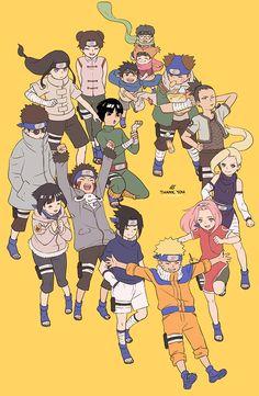 Naruto Konoha 11 + Sasuke, Konohamaru and the two other kids younger