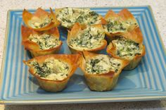 spinach & artichoke dip cups...great for a party so you can move around instead of standing by the dip!