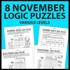NOVEMBER / THANKSGIVING LOGIC PUZZLES: Puzzle themes include Veterans Day, fall crafts, fall chores, Black Friday, volunteering for homeless shelter and of course, Thanksgiving.These November logic grid puzzles are a fun way for students to practice logical reasoning rather than educated guesses to achieve answers.