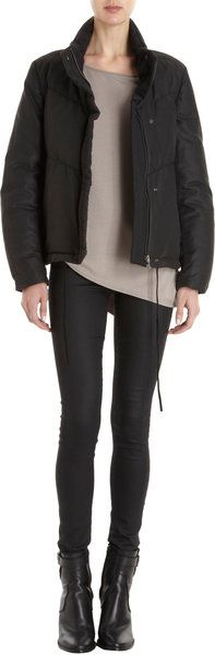 b18cf0f87b HELMUT LANG Black Zip Front Boxy Puffer Jacket - Lyst Puffer Jackets