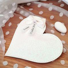 ballotin pochon sachet dragées original coeur pailleté blanc