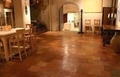These antique terracotta tiles come from the region of Bordeaux in the south-west of France. Provence, Bordeaux, Stone Archway, Terracotta Floor, Unique Flooring, Tile Flooring, Gothic Bedroom, Interior Concept, Bathroom Floor Tiles