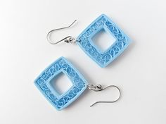 Paper jewelry – Sky blue kites, paper quilled earrings –First anniversary gift –Handmade, pastel, eco-friendly lightweight artisan jewellery